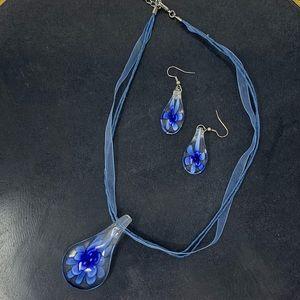 Murano style Italian Glass Pendant and Earrings